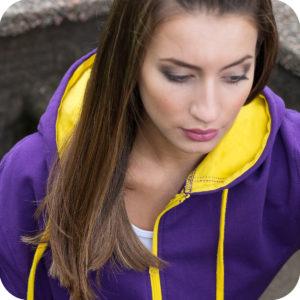 Varsity Zip leavers Hoodie purple