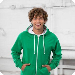 zip up varsity leavers hoodie green